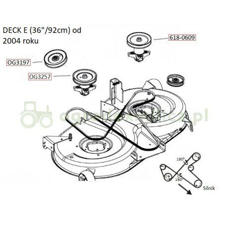 Pasek klinowy napędu noży traktorka MTD Nr 754-0632, 754-04075