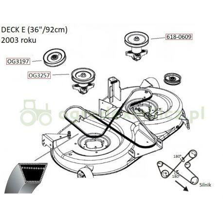 Pasek klinowy MTD SE135A, SE150H nr 754-04024 napędu noży
