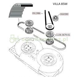 Pasek zębaty napędu noży traktorka Stiga Villa 85M nr 1134-9030-01, 9585-0071-00