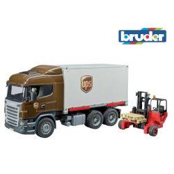 Zabawka Ciężarówka Scania z wózkiem widłowym