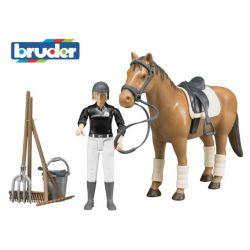 Zabawka - Figurka dżokeja, koń i akcesoria