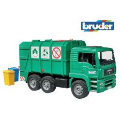 Zabawka Bruder - zielona śmieciarka MAN