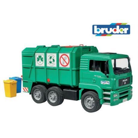 Zabawka Bruder 02753 - zielona śmieciarka MAN
