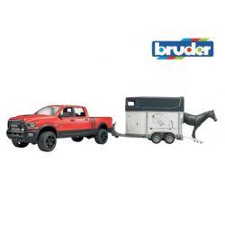 Zabawka Bruder - Dodge RAM z przyczepką z koniem