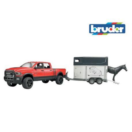 Zabawka Bruder 02501 - Dodge RAM z przyczepką z koniem